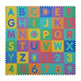 VeloVendo - Tapis Mousse Bébé | Dalles 32 x 32 cm avec Certification CE & TÜV | Tapis pour Enfants | Tapis de Puzzle (Lettres + Chiffres)