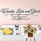 Wandaro W3403 Wandtattoo Spruch Glaube an Wunder Liebe Glück I Braun 130 x 41 cm I Wohnzimmer Aufkleber Wandsticker Schlafzimmer Wandaufkleber