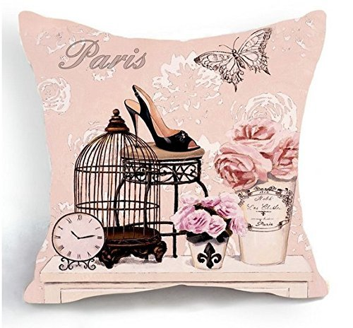 ntage Pink Bird Cage Flower Home 18 X 18 Inch Cotton Linen Decorative Throw Cushion Cover/Pillow Sham ()