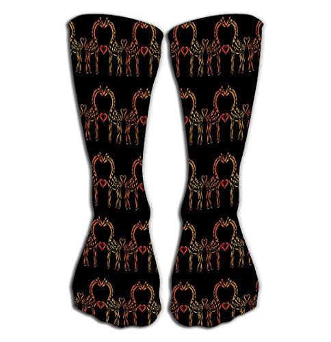 Xunulyn Hohe Socken Outdoor Sports Men Women High Socks Stocking Background Tall Giraffe Love Romantic Pattern kiss Heart Character Tile Length (Extra Tall Kostüme)