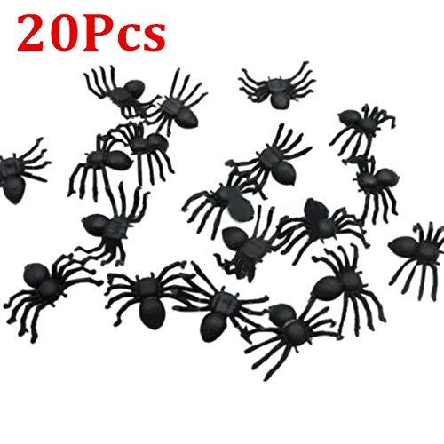 Berrose Halloween Mini Kunststoff schwarz leuchtende Spinne Streich Scherz Geburtstagsspielzeug DIY dekorative Spinnen 2cm Party Requisiten-Halloween Favors für Dekorationen