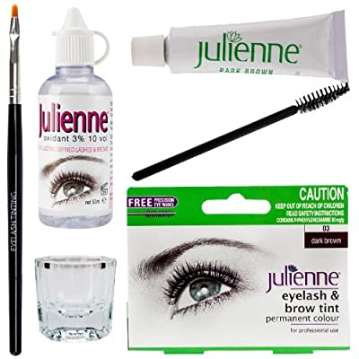Julienne Eyelash Eyebrow Tint Tinting Kit Dye Dark Brown Tint Brush Dish Oxidant from Julienne