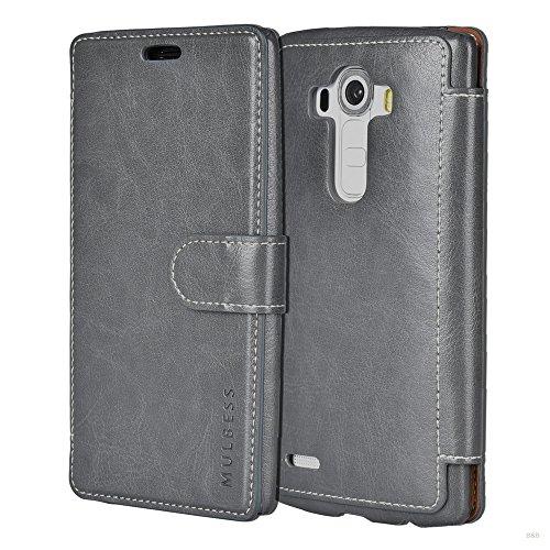 Mulbess Handyhülle für LG G4 Hülle Leder, Layered Dandy Leder Flip Tasche für LG G4 SchutzHülle Leder, Grau