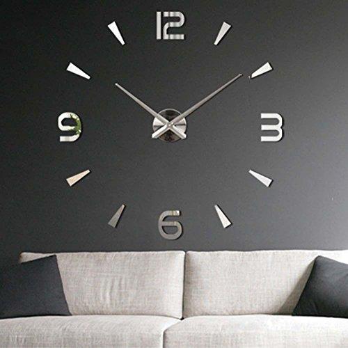 yosoo ultra silent diy u reloj de pared grande d pegatina de espejo moderno adhesivo espejo acrlico adhesivo decoracin del hogar de rabe dgitos para