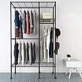 Swteeys Garderobenständer Schwarz Kleiderständer Metall Wäscheständer mit Ablage Kleiderstange Kleiderschrank 120 x 45 x 205cm