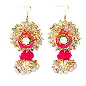 STRIPES Diwali Special Pink And Golden Gotta and Pom Pom Handmade Earrings