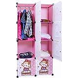 Kurtzy Wardrobe Cupboard Closet Cabinet 8 Door Storage Organizer Rack Shelf For Clothes Living Room Bedroom With Instruction Cd