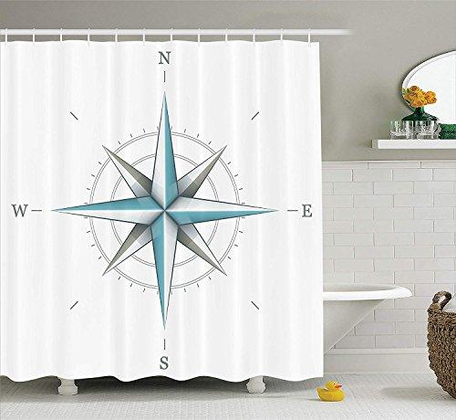 OuopBgbkkjn Kompass Duschvorhang Antike Windrose Diagramm für Kardinal Richtungen Achse der Erde Abbildung Stoff Badezimmer Dekor Set mit Teal Dimgray
