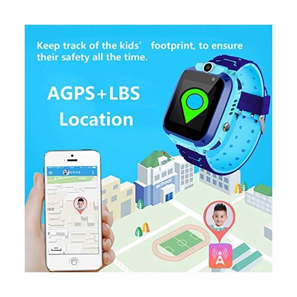 Smartwatch Niños IP67 Impermeable - AGPS LBS Tracker Localizador Reloj Inteligente Niños, Smartwatch Niña con Cámara SOS Chat de Voz Juego Alarma, Reloj Inteligente Niña Compatible con iOS Android 5