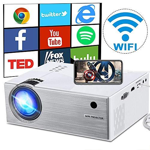 Jasbo WiFi Beamer 2600 Lumen, Mini WiFi Projektor, Video Heimkino Beamer unterstützt Airplay Miracast DLNA und 1080P HD, Kompatibel mit HDMI VGA USB AV SD