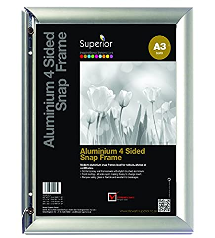 seco, AM8-A3SV - Front Load Easy Open Poster Snap Frame, Comes with a Silver Anodised Aluminium Finish. Fittings supplied. Screws to wall. -