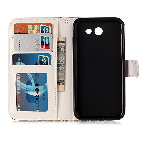 KM-WEN® Schutzhülle für Apple iPhone 7 Plus (5,5 Zoll) Bookstyle Mode Glatt Geprägte Farbmalerei Series Campanula Eule Muster Magnetverschluss PU Leder Wallet Case Flip Cover Hülle Tasche Schutzhülle  Farbe-8