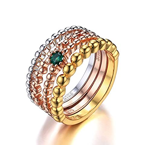 JewelryPalace 925 Sterling Silver Simulated Nano Russian Emerald 3 Tone 4 Rope Band Stackable Ring Set Size