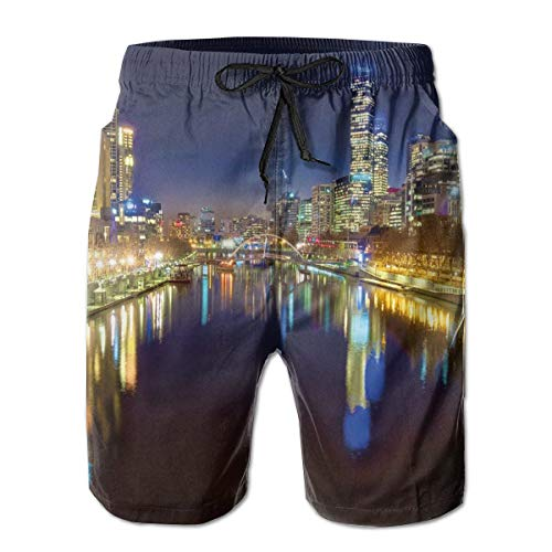 Men Swim Trunks Beach Shorts,Looking Down The Yarra River On A Beautiful Night In Melbourne Water Reflection Indigo Yellow,Quick Dry 3D Printed Drawstring Casual Summer Surfing Board Shorts M - Indigo Short Sleeve Shorts