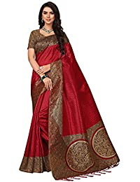 Ishin Poly Silk/ Blended Mysore Silk Red Printed Women's Saree/ Sarri With Tassels