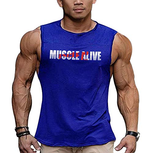 Musclealive Uomo Essenziale Muscolo Senza Maniche Maglietta con Equipaggio Collo per Bodybuilding Canotte Camicie Cotone