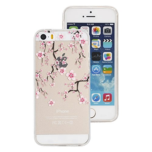 iphone 5S Glitter Custodia, iphone 5 Silicone Cover, Trasparente Caso for iphone SE, Ekakashop Moda Fantasia Creative 3d Gel Soft TPU Silicone Gomma Cover, Colorato Painting High penetration IMD Tech  Plum flower