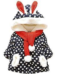 Ropa de Nieve, ❤️ Zolimx Niñas de Bebé Lindo Conejo Orejas con Capucha Polka Dot Invierno Cálido Abrigo Chaquetas Prendas de Abrigo