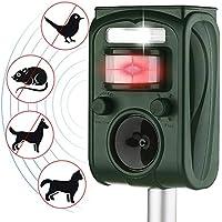 AUTSCA Ahuyentador Gatos Repelente ultrasónico para Animales,con LED,Carga Solar,ristente al
