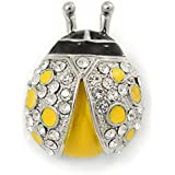 Yellow/ Black Enamel Crystal Ladybug Brooch In Rhodium Plating - 35mm L