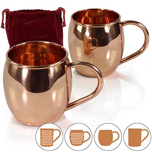 Amazy Moscow Mule Becher inkl. Aufbewahrungsbeutel – 2er Set handgemachte Kupferbecher aus Indien für einen erfrischend-kühlen Trinkgenuss (2x Bauchig | Glatt)