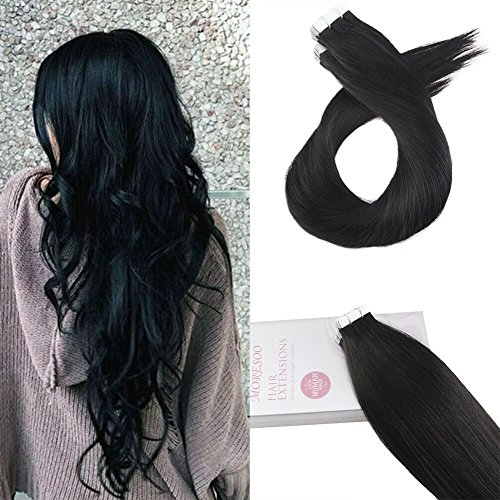 Moresoo 26zol/65cm Tape in Haarverlängerung mit Klebebänden Echthaar Brasilianer Haar Extensions Echthaar Tape in #1 Virgin Remy Brasilianer Haar Extensions 20pcs/50gramm