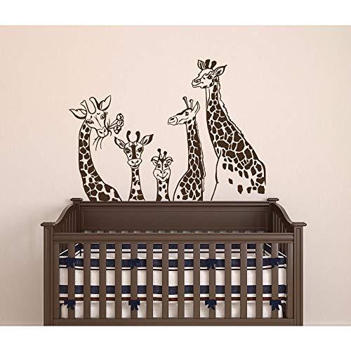 Fobostory Giraffe Familie Wand Vinyl Aufkleber Tier Thema Kinderzimmer Dekor Giraffen Safari Wand Kunst Aufkleber Kinderzimmer Vinyl Kunst Poster79X57 Cm