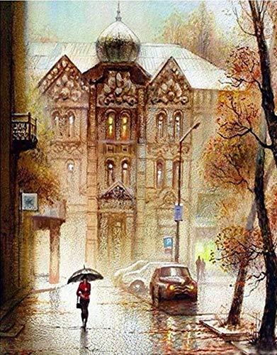 YEESAM ART Neuheiten Malen nach Zahlen Erwachsene Kinder, Straße im Regen, von Svetlana Yaseneva 40x50 cm Leinen Segeltuch, DIY ölgemälde Weihnachten Geschenke