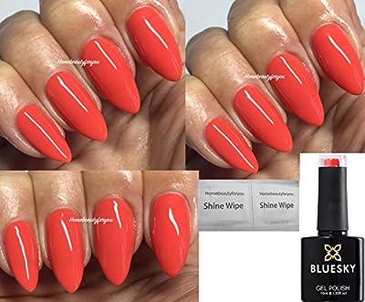 Bluesky Grenadine Deep Coral Orange BP13 Nail Gel Polish UV LED Soak Off 10ml PLUS 2 Homebeautyforyou Shine Wipes