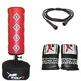 Boxsack für Kinder, freistehend, inkl. Handschuhen und Springseil, Rot