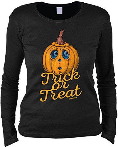 Treat Kostüm Or Trick - Tini - Shirts Halloween Langarmshirt Frau - Halloweenmotiv - Halloweenspruch : Trick or Treat - Damen Longsleeve Spruch lustiger Kürbis Gr: L