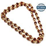 RUDRADIVINE Self Certified Natural Brown and Golden Cap Mala with 5 Face Rudraksha (6 mm)