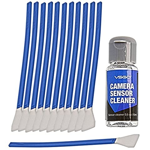 VSGO Kit De Nettoyage Pour Le Capteur De L'Appareil Photo APS-C - 6 à 12 Nettoyages - 12x Écouvillons (Swab) 12mm - Nettoyant Liquide
