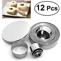 BESTOMZ 12pcs Emporte-pièces - Emporte-pièces Rond en acier inoxydable pour Biscuits, Fondant, Donuts, Pâte, Muffins,gâteaux