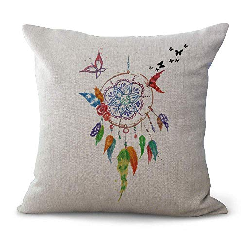 Indian Style Cushion Covers Black Beige Dream Catcher Painting Polyester Throw Pillow Cases for Home Sofa Bed Decorative,Cushion Size:18 x 18 inches (Bamboo Dream Catcher)