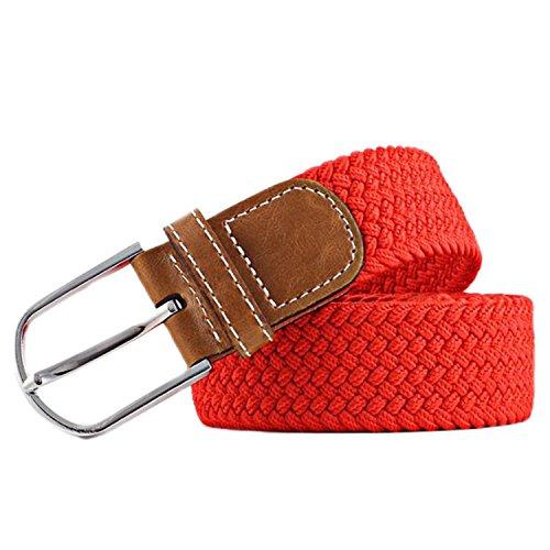 MESHIKAIER Puro Color Unisex Trenzado Cinturón Mujer Hombre Elástico Cinturón Casual Tejido Cinturón + PU Cuero Hebilla (Rojo)
