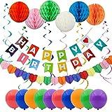 Caratteristiche: Questo Set di Decorazioni per il Compleanno è perfetto per la decorazione della festa di compleanno dei tuoi bambini a casa o a scuola! O per colorare la festa degli adulti.Le ghirlande sono facili da montare e appendere, le ...