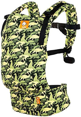 Baby Tula Free-to-Grow Baby Carrier, Adjustable Newborn to Toddler Carrier, Ergonomic and Multiple Positions for 7 - 45 pounds - Camosaur Tula INNOVATIVE BODY PANEL: adjusts in three width settings and two height settings to allow for an ergonomic snug position from newborn, infant and early toddlerhood. No infant insert needed! MULTIPLE ERGONOMIC POSITIONS: back carry and front carry options to provide a natural, ergonomic position best for long term, comfortable carrying that promotes healthy hip and spine development for baby DUAL-ADJUSTMENT PADDED STRAPS: provide optimal neck & shoulder comfort and offers quick and easy adjustments for multiple wearers 1