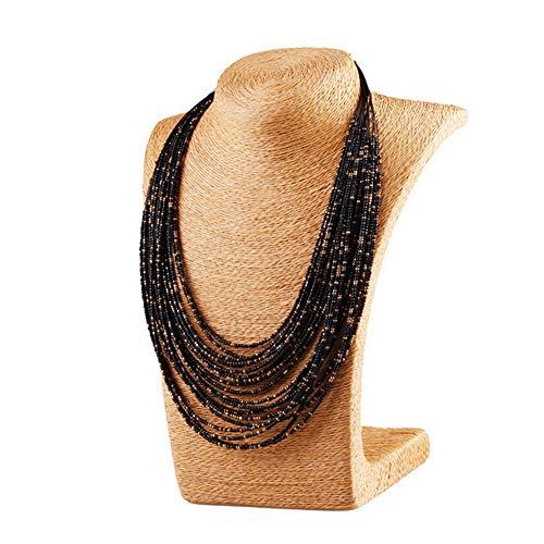 Hosaire Schwarz Retro-Halskette für Frauen Bohemia-Stil Halskette mit mehrschichtige Perlen Kette Kostüm Schmuck Halskette