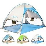 ZOMAKE Tenda da Spiaggia Automatica Pop-up Tenda da Sole Portatile istantanea con Protezione UV, Protezione della Privacy e Ventosa, Tenda per 2-4 Persone per Spiaggia all'aperto (Bianco Argento)
