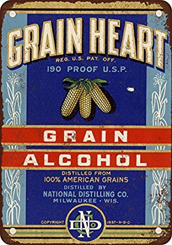 Shimeier Funny Grain Heart 190 Proof Grain Alcohol Vintage Look Reproduktion Metall Blechschild 30,5 x 40,6 cm Home Decor Wall Art Dekoration Schild