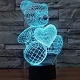Bear Love Heart 3D Lamp For Girls Bedroom LED Touch, used for sale  Delivered anywhere in Ireland