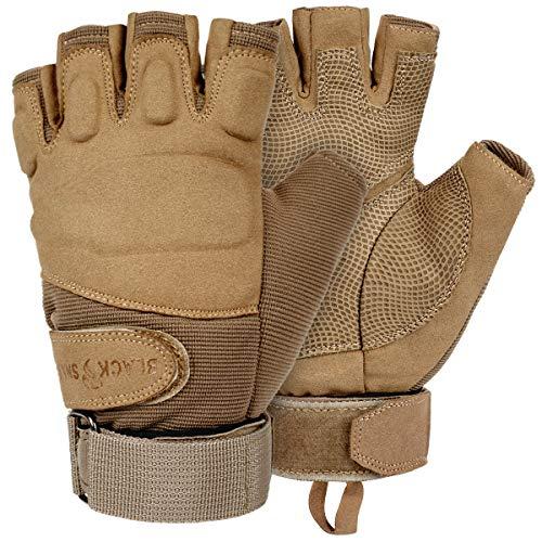 Black Snake® Tactical Halbfinger Handschuhe | Einsatzhandschuhe Mission Gloves | Fahrrad, Motorrad, Paintball, Survival, Jagd - L - Coyote