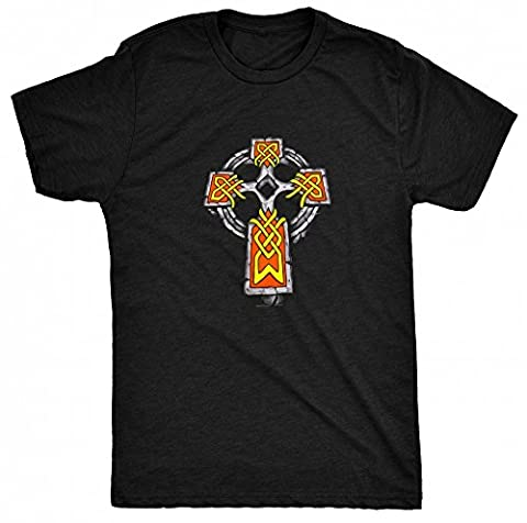 8TN Celtic Stone Cross hommes T Shirt - Noir - Taille XL