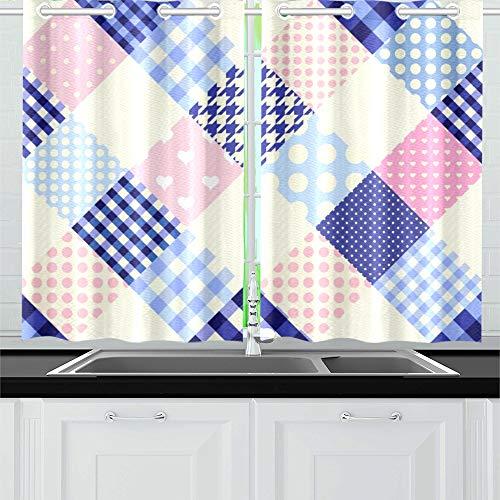 QIAOLII Diagonal Plaid Tartan Küche Vorhänge Fenster Vorhang Ebenen für Café, Bad, Wäscheservice, Wohnzimmer Schlafzimmer 26 x 39 Zoll 2 Stück - Küche Vorhänge Plaid