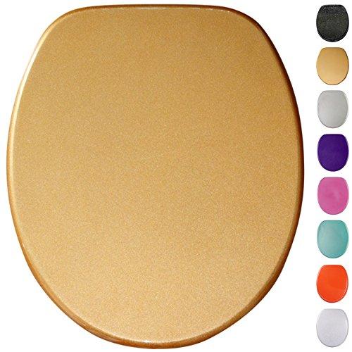 Sedile wc con chiusura ammortizzata   grande scelta di sedili wc scintillanti da legno robusto e di alta qualità (oro scintillante)