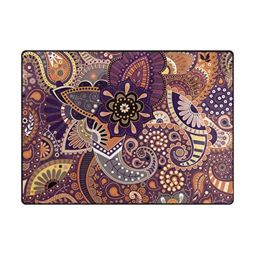 MONTOJ Cool Paisley Floral Muster Schlammkratzer für Schuhe, Wohnzimmer, Schlafzimmer, Heimdekoration, Teppich, Polyester, 1, 80 x 58 inch