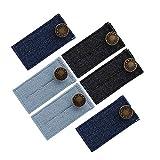 Naler 6 tlg Bunderweiterung Verstellbare Erweiterung Hosenweiterung für Jeans Hosen Schwangerschaft (3 Farben, 2-stufig)