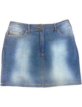 TTC - Mini falda de mezclilla elástica lavada a la piedra, talla 36, 38, 40, 42, 44, 46