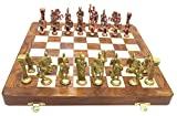 Antiques World Brass & Wood Unique Home Decor Art Collectible Chess Set with Roman Figures and Hand Made Wooden Chess Board 14'X14' Folding AWUSACB 05